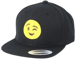 Kids Emoji Wink Black Snapback - Iconic