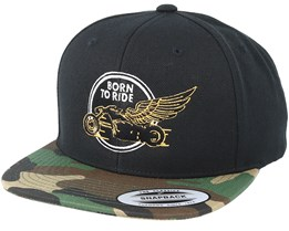 Just fly Away Black/Camo Snapback - Born To Ride