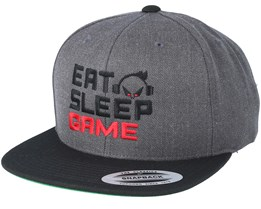 Eat.Sleep.Game Dark Grey/Black Snapback - Gamerz
