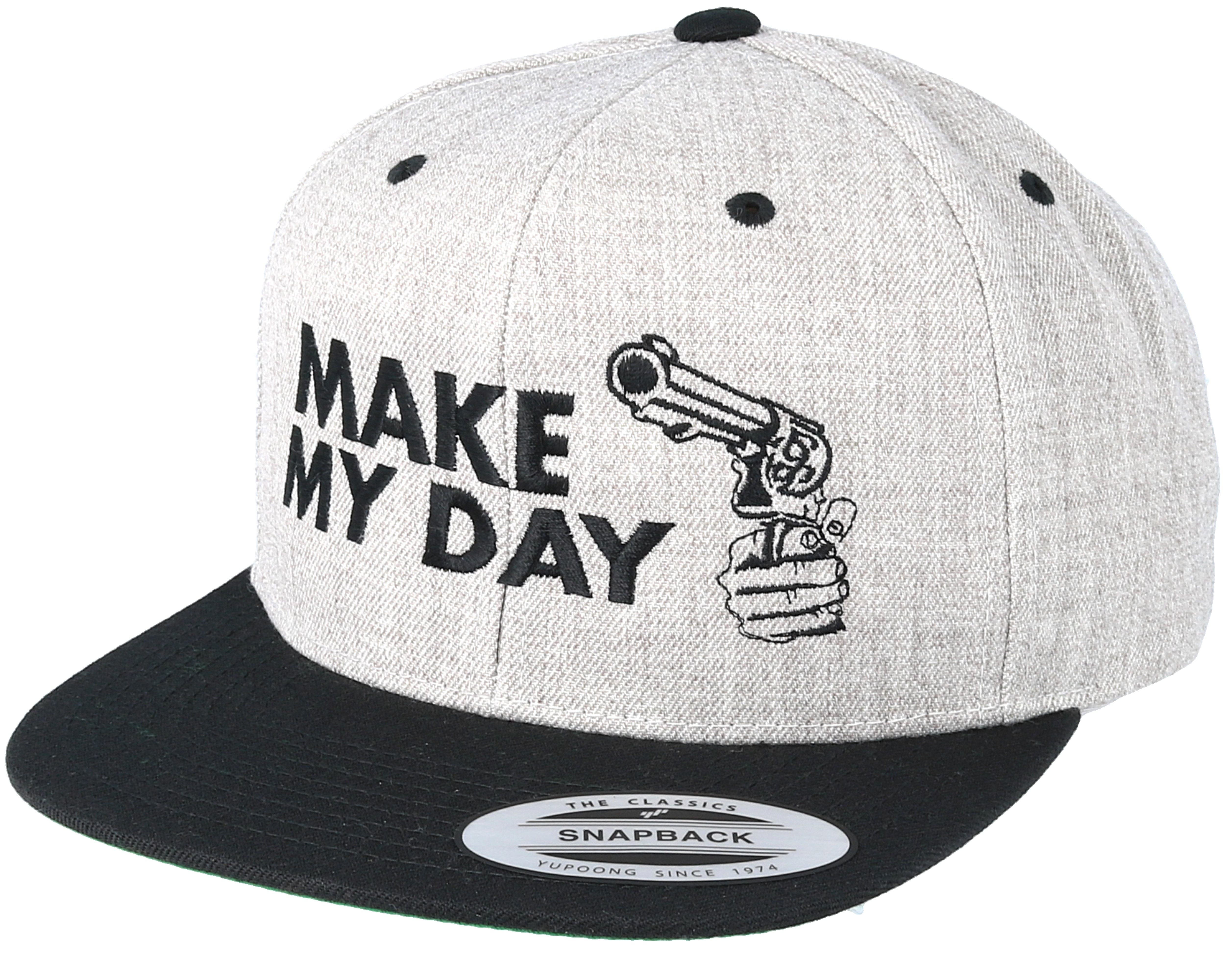 make my day grey black snapback scenes caps. Black Bedroom Furniture Sets. Home Design Ideas