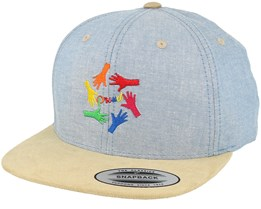 Hands Light Blue/Beige Suede Snapback - Pride